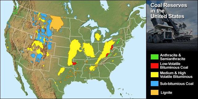 The Following Map Show The Major Coal Deposits In The United States